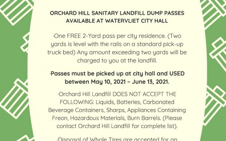 Dump passes available at Watervliet City Hall starting on May 10, 2021.