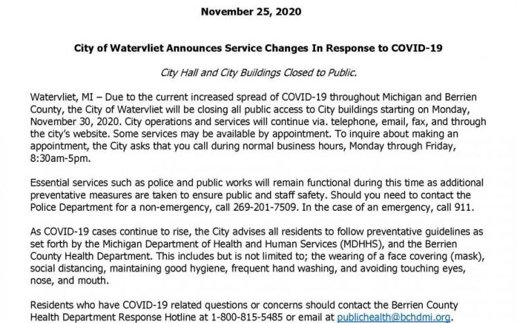 City Building Closed Effective November 30